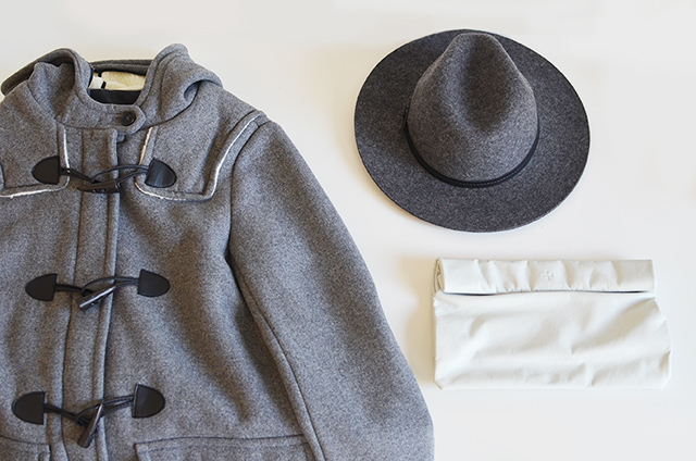 zara coat, fedora hat