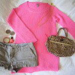 pink knit outfit